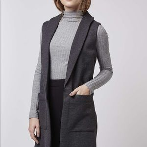 Topshop long grey vest / sleeveless blazer